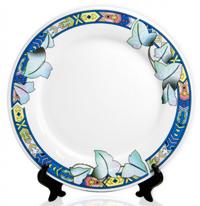 Тарелка-керамическая-белая-листья-